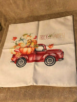 "New Fall Winter Canvas Decorative Pillow Case 17"" x 17"" Red Farm Truck Harvest"