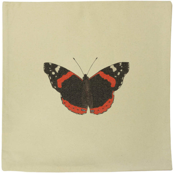 40cm x 40cm 'Red Admiral Butterfly' Canvas Cushion Cover (CV00010603)