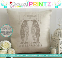 PERSONALISED CANVAS CUSHION PENGUIN CHRISTMAS AT THE SHABBY CHIC WEDDING MR &MRS