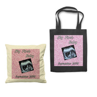Personalized Baby Scan image with text Sofa Cushion Cover Tote Bag Canvas Gift