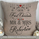 PERSONALISED CANVAS CUSHION 1ST FIRST CHRISTMAS MR&MRS ANNIVERSARY GIFT WEDDING