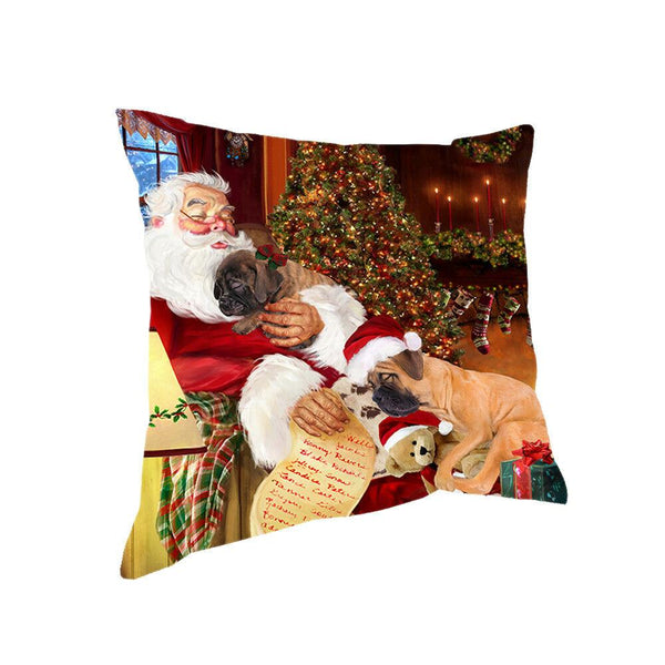Santa Sleeping with Bullmastiff Dogs Christmas Pillow 14x14