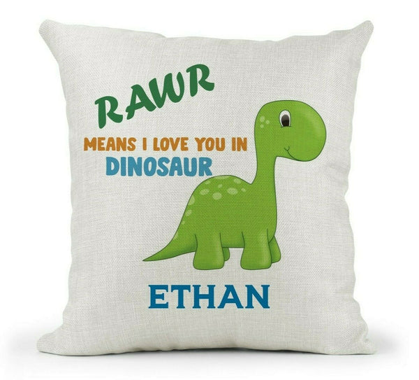 Personalised Cushion Bedroom Decor Cute Dinosaur Rawr means I love you Boys Girl