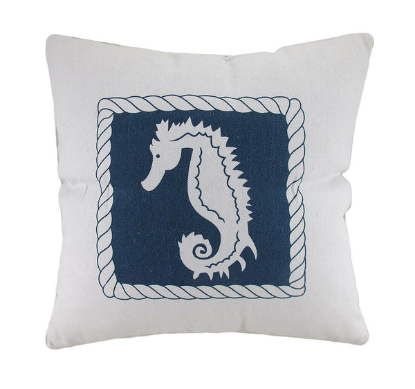 Zeckos White And Blue Seahorse Decorative Canvas Throw Pillow