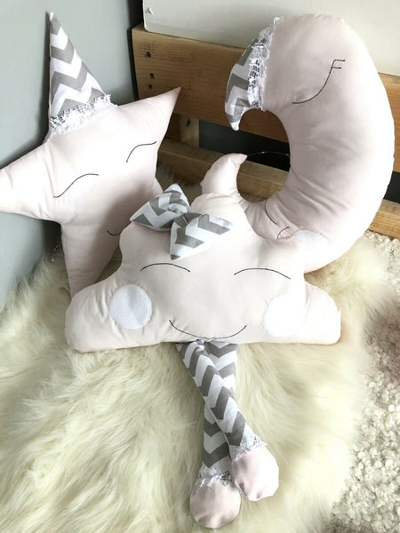 Cushions pillows  star , cloud , moon HANDMADE kids set of Cushions Baby Decor