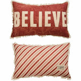 Primitives by Kathy Holiday Believe Cotton Throw Pillow, 22 x 14-Inch