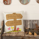 VHC Farmhouse 18x18 Pillow Easter Pillows Bunny Trail Egg Hunt White Canvas