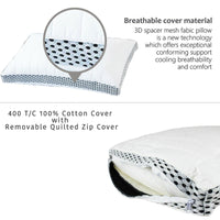 Kensingtons® Sprung Bed Pillows Breathable Neck and Back Pain-Relieving Sleeping