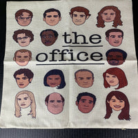 The Office Cast Cartoon Faces Linen Canvas Throw Pillow Cover 17in x 17 inch