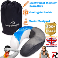 Travel Neck Pillow Memory Foam Gel Soft Support Cushion Plane Flight Sleep Car