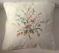 2 - 1: Decorative Burlap Throw Pillow Stamped w/3 Birds & Floral Throw Pillow