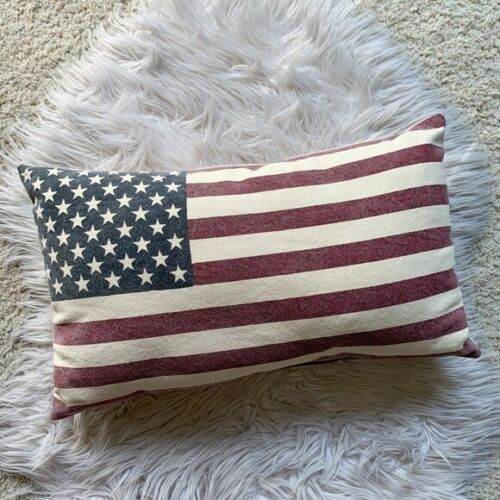 AMERICAN FLAG STARS & STRIPES CANVAS DECORATIVE THROW PILLOW BED ROOM DECOR