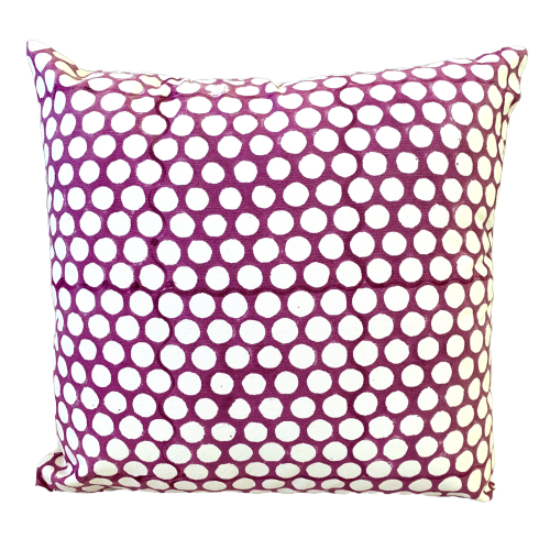 Purple Polka Dot Block Print Canvas Cotton Cushion Cover Pillow 2Pcs