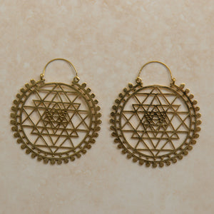 Sri Yantra Large Hoop Earrings