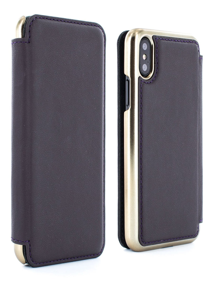 Front and back image of the Greenwich Apple iPhone XS / X phone case in Damson Purple