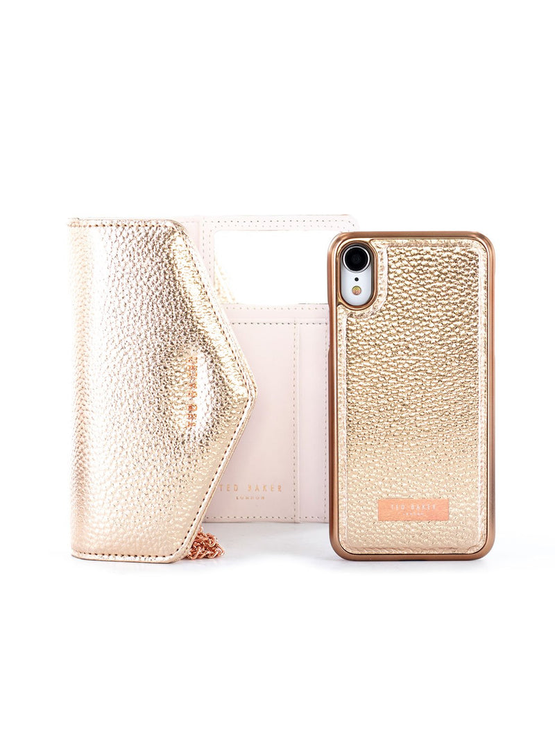 Bag with Case image of the Ted Baker Apple iPhone XR phone case in Rose Gold