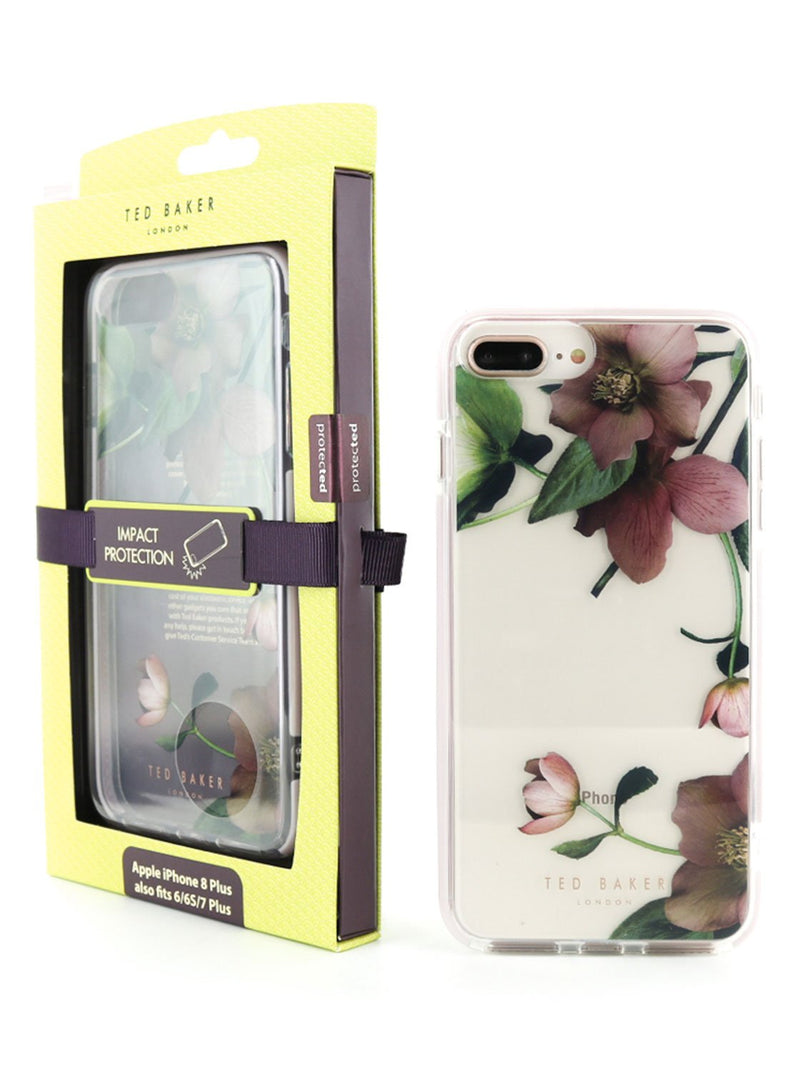 Packaging image of the Ted Baker Apple iPhone 8 Plus / 7 Plus phone case in Clear Print