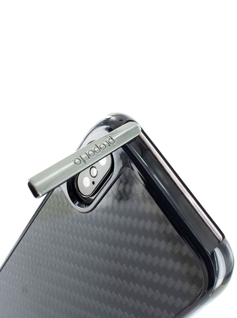 Kickstand detail image of the Proporta Apple iPhone XS / X phone case in Black