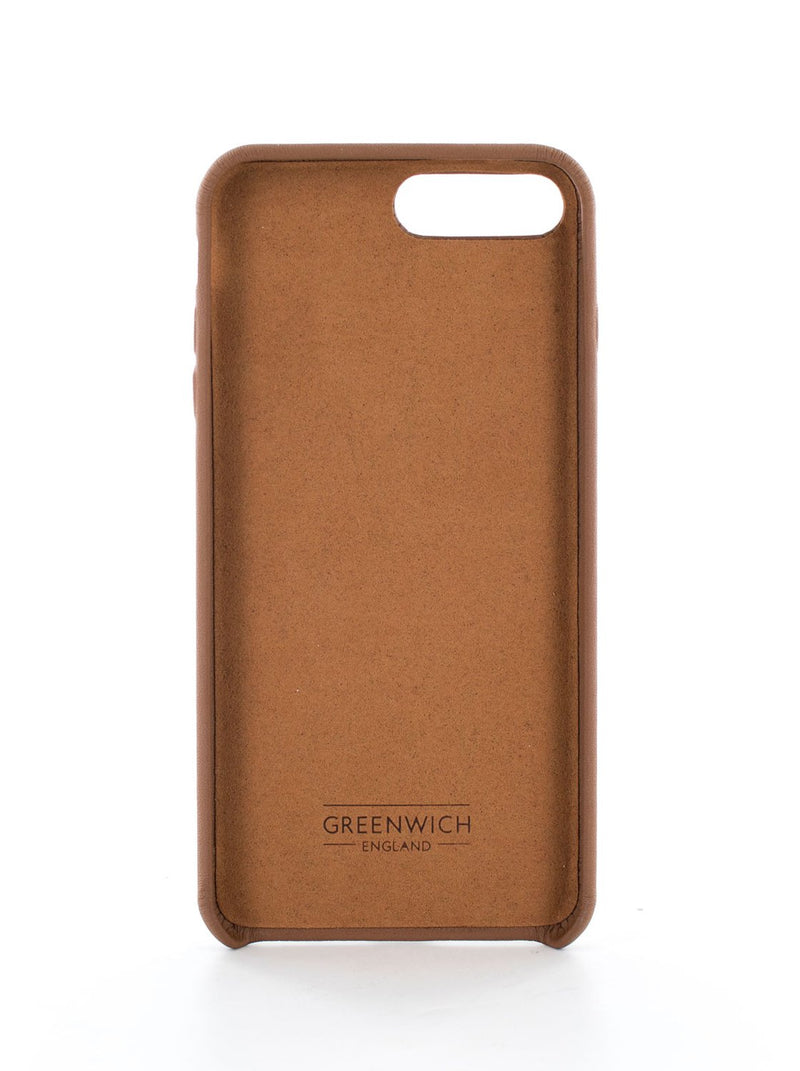 Inside image of the Greenwich Apple iPhone 8 Plus / 7 Plus phone case in Saddle Brown