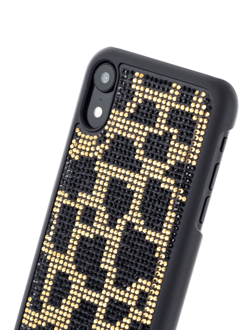 Detail image of the Karen Millen Apple iPhone XR phone case in Black