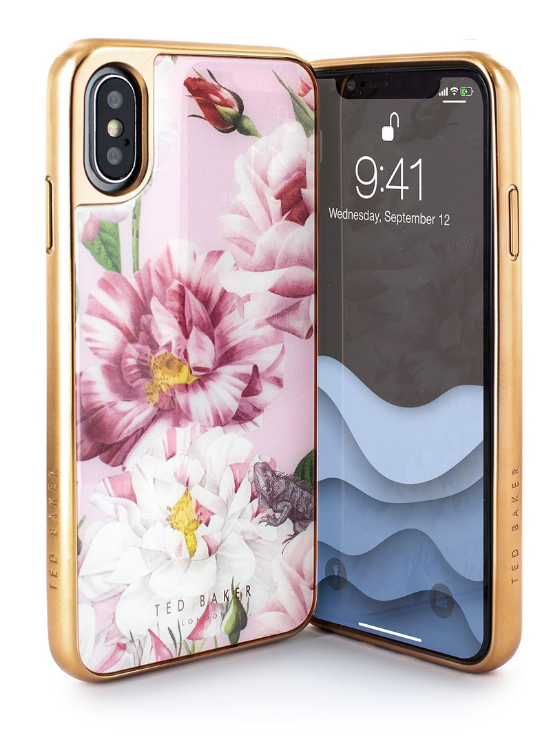 Front and back image of the Ted Baker Apple iPhone XS / X phone case in Pink