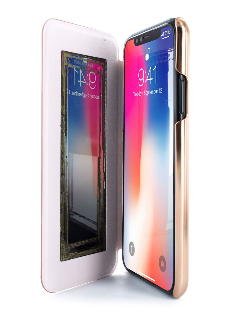 Inside image of the Ted Baker Apple iPhone XS / X phone case in Rose Gold
