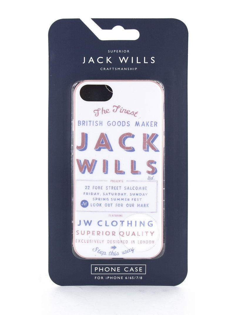 Packaging image of the Jack Wills Apple iPhone 8 / 7 / 6S phone case in Graphic White