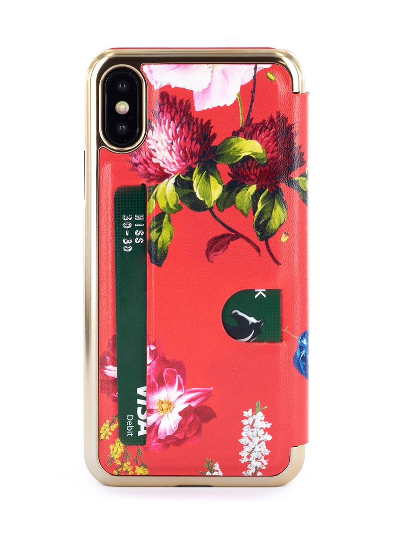 Back image of the Ted Baker Apple iPhone XS / X phone case in Berry Sundae Red
