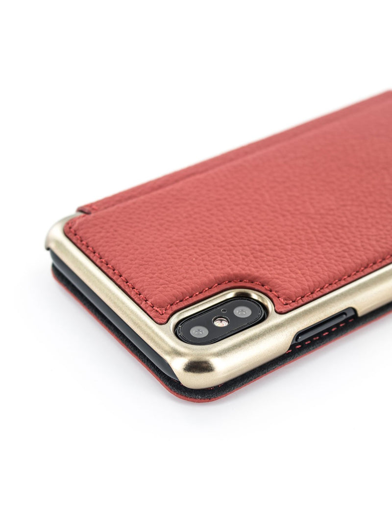 Detail image of the Greenwich Apple iPhone XS / X phone case in Scarlet Red