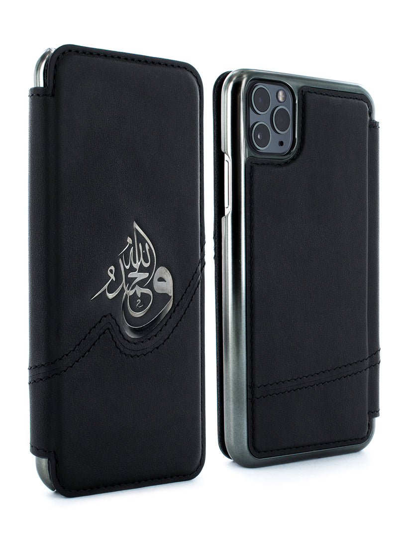 SAMEER Luxury Leather Case for iPhone 11 Pro Max - BLACK/GUNMETAL
