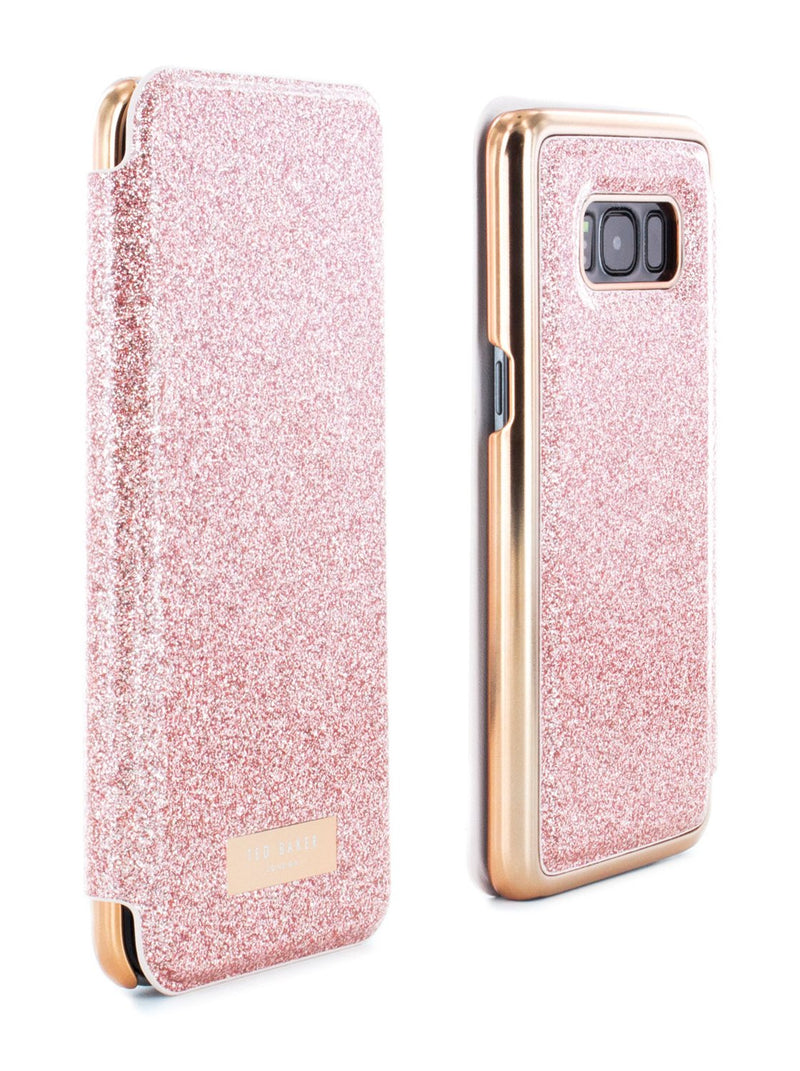 Front and back image of the Ted Baker Samsung Galaxy S8 phone case in Rose Gold
