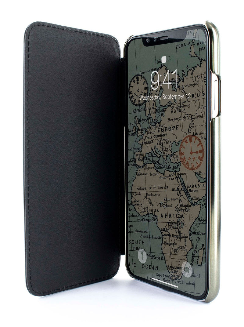 Inside image of the Greenwich Apple iPhone XR phone case in Beluga Black