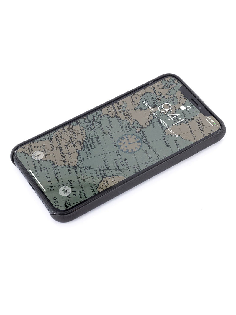 Face up image of the Greenwich Apple iPhone XS Max phone case in Beluga Black