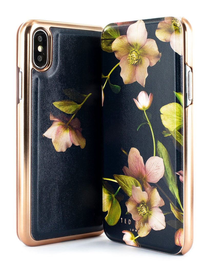 Front and back image of the Ted Baker Apple iPhone XS / X phone case in Black