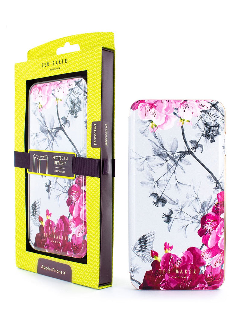 Packaging image of the Ted Baker Apple iPhone XS / X phone case in Babylon Nickel