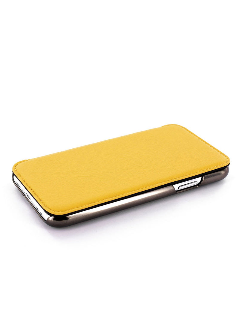Face up image of the Greenwich Apple iPhone XS / X phone case in Canary Yellow