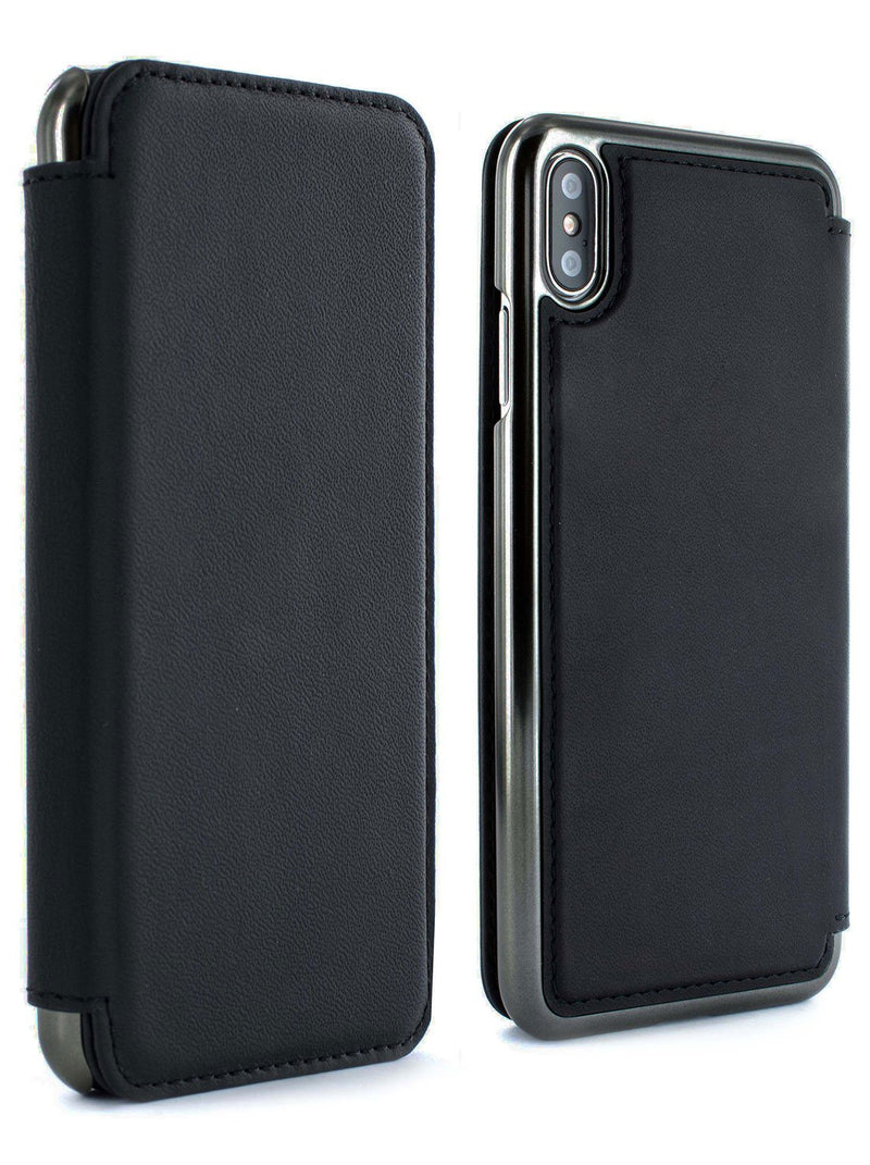 Front and back image of the Greenwich Apple iPhone XS Max phone case in Beluga Black