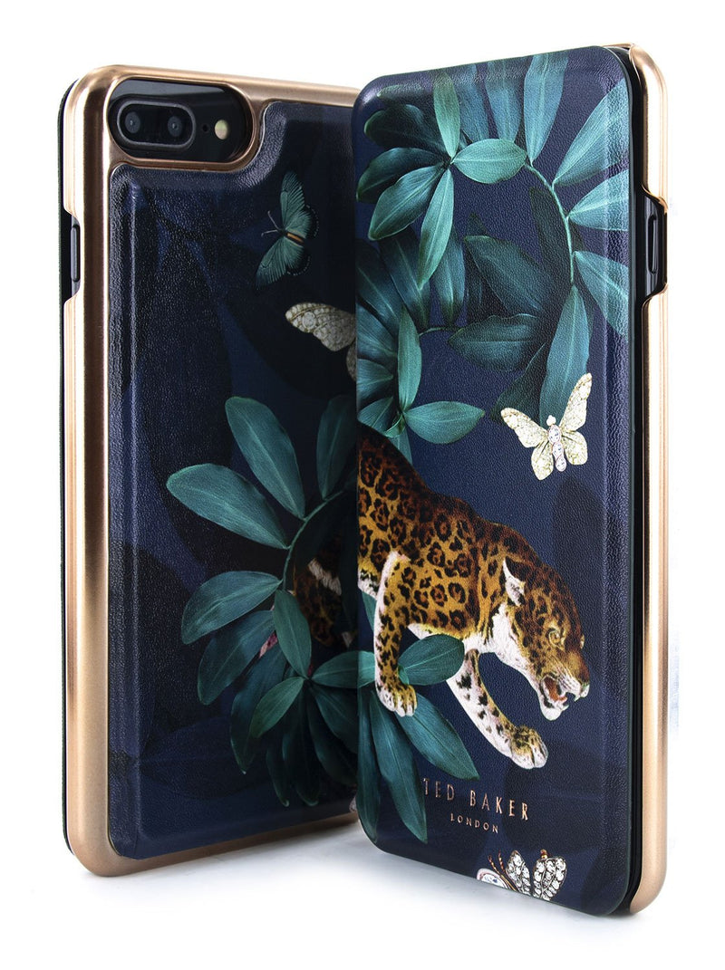 Front and back image of the Ted Baker Apple iPhone 8 Plus / 7 Plus phone case in Houdini Green style