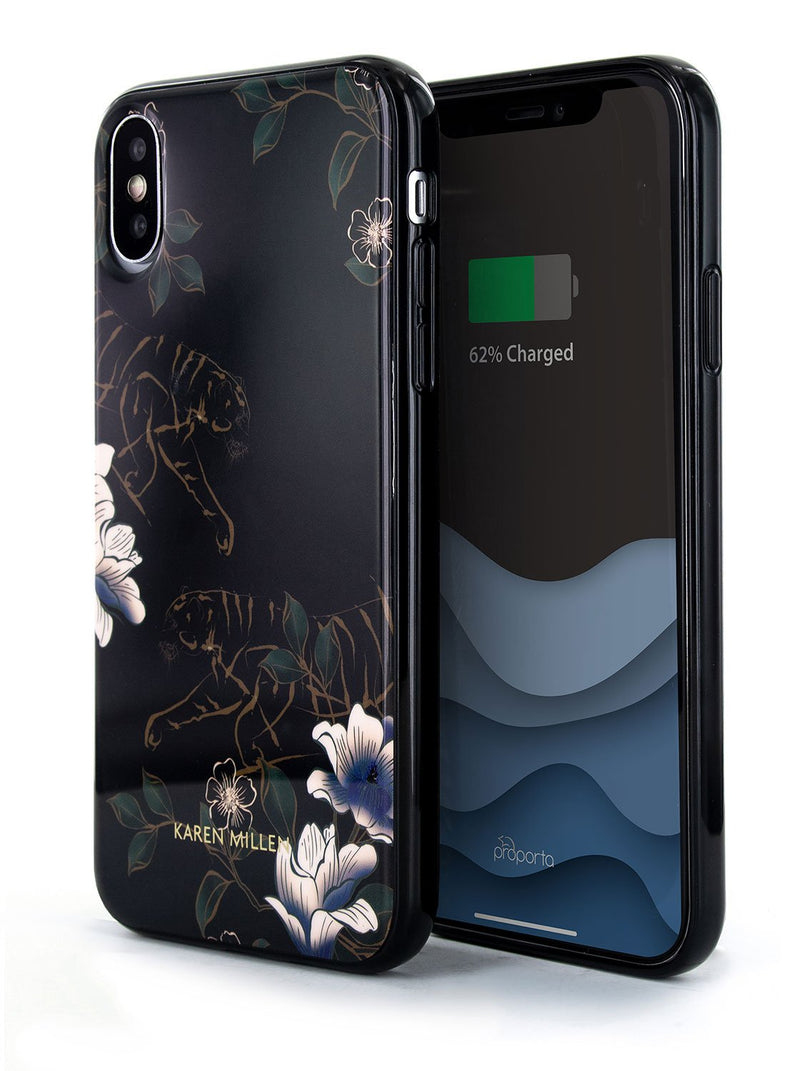 Front and back image of the Karen Millen Apple iPhone XS / X phone case in Black