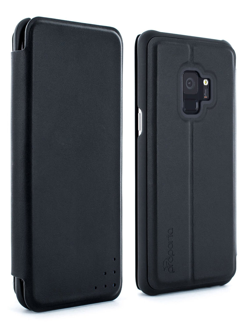 Front and back image of the Proporta Samsung Galaxy S9 phone case in Black