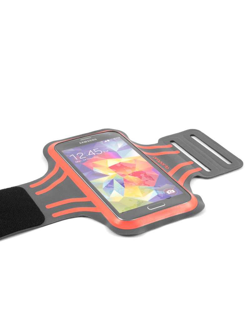 Hero image of the Proporta Universal Smartphone armband in Orange and Grey