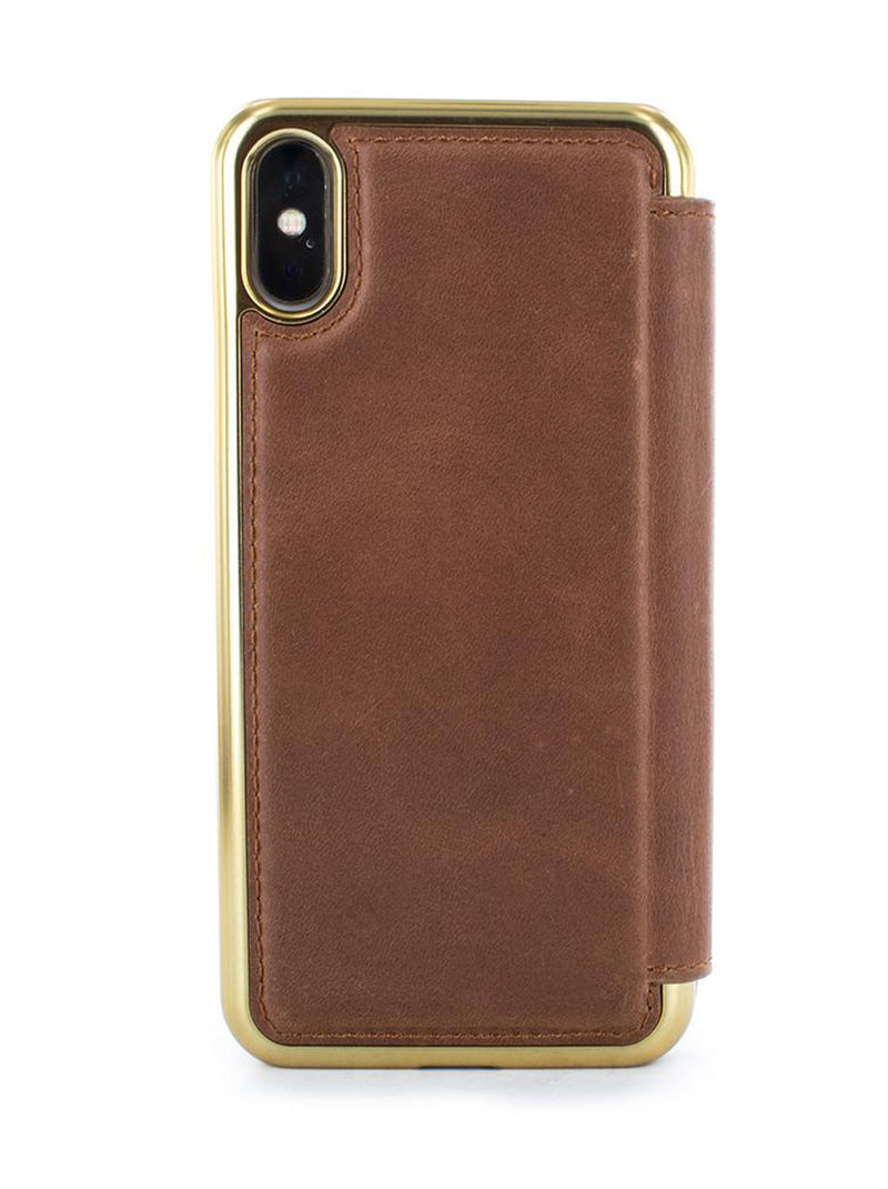RAMAL (Sands) - Greenwich x Burntaxe Laser Etched Leather Folio Case with Card Slot for iPhone XS Max