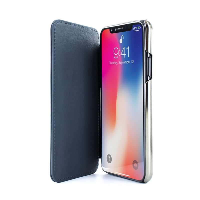 HORO Leather Folio Case for iPhone X / XS - Seal/Gunmetal Electroplated