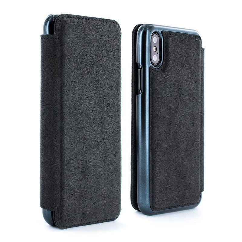 WALKER Alcantara Folio Case with Card Slot for Apple iPhone XS / X - Black Electroplated