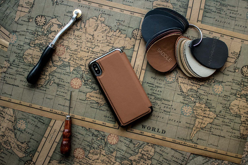HORO Leather Folio Case for Apple iPhone XS / X - Saddle/Gunmetal Electroplated