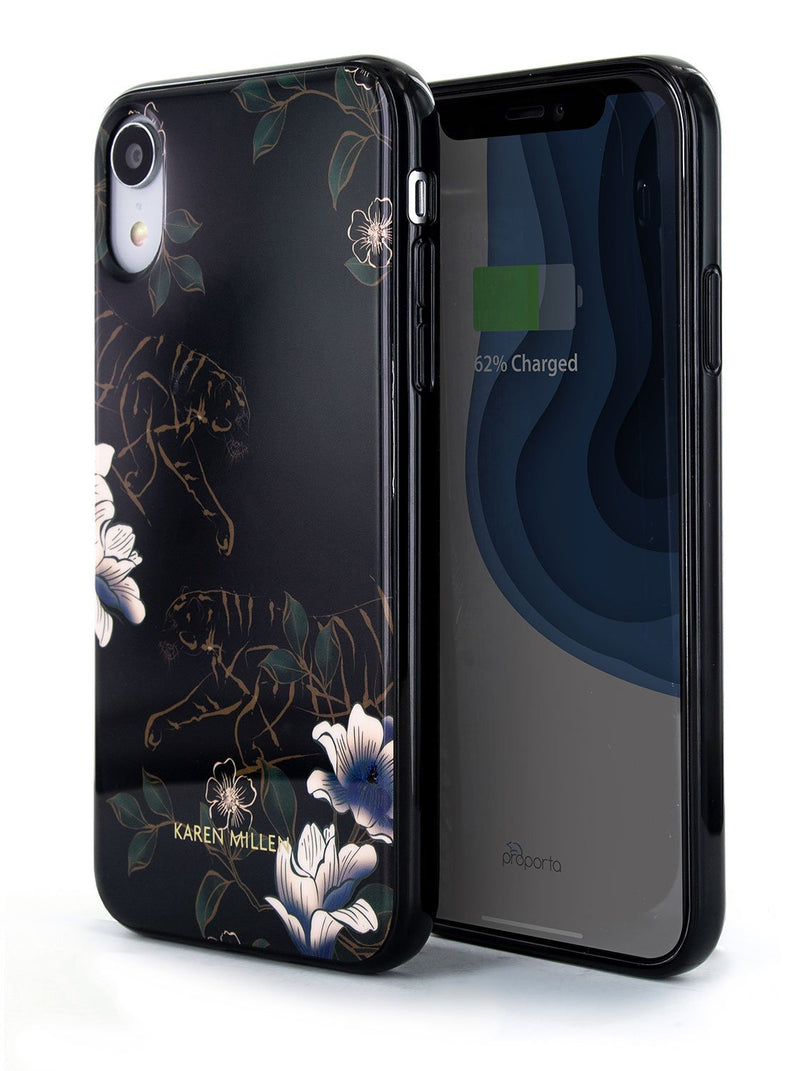 Front and back image of the Karen Millen Apple iPhone XR phone case in Black