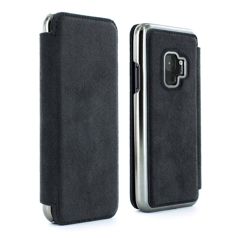 WALKER Alcantara Folio Case with Card Slot for Samsung Galaxy S9 Plus - GUNMETAL Electroplated