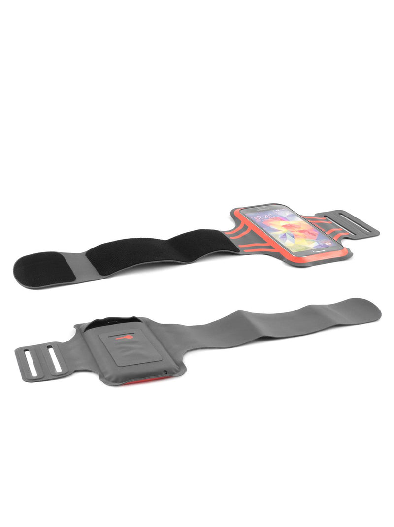 Unravelled front and back image of the Proporta Universal Smartphone armband in Orange and Grey