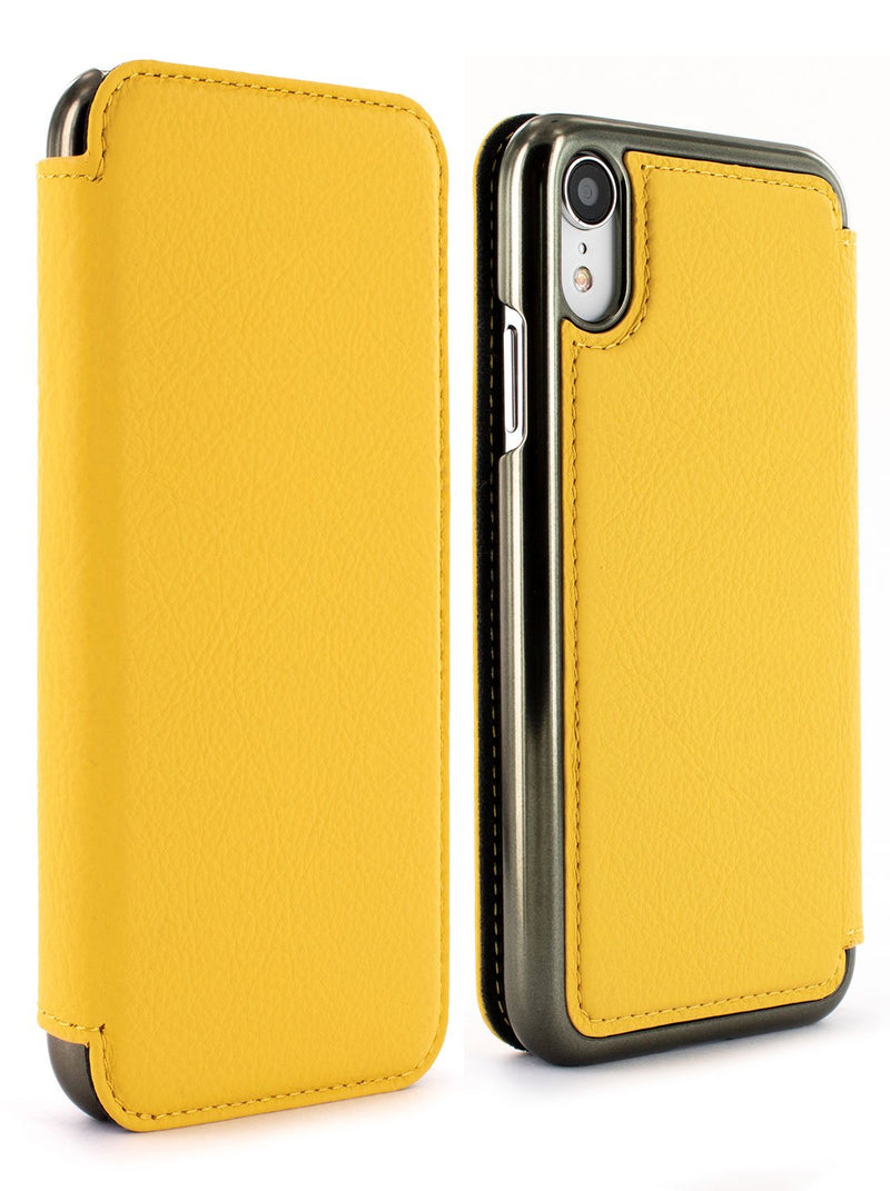 Front and back image of the Greenwich Apple iPhone XR phone case in Canary Yellow