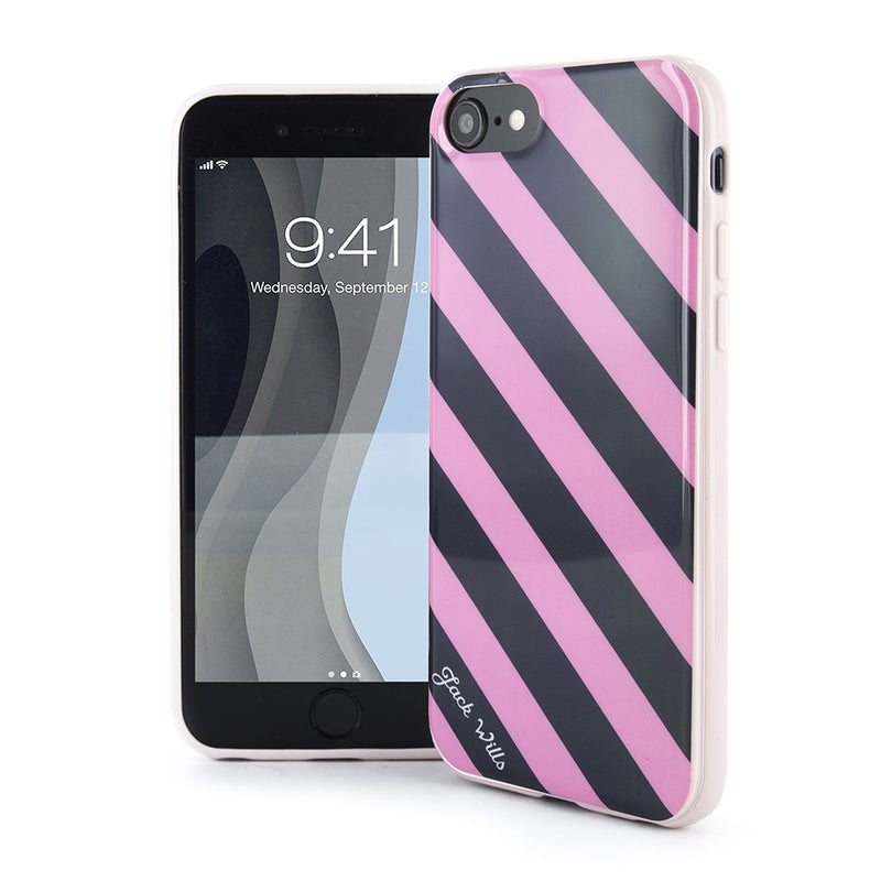 Jack Wills FLINT Hard Shell for iPhone SE (2020) / 8 / 7 / 6 - Diagonal Stripe Pink/Navy